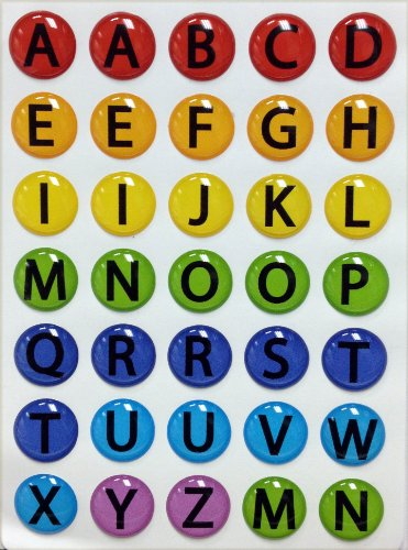 Colorful A-Z Alphabet ABC's 35 Pieces Home Button Stickers for iPhone 5 4/4s 3GS 3G, iPad 2, iPad Mini, iPod Touch by Red Rock