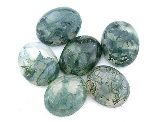 FOUR 10x8 10mm x 8mm Oval Natural Moss Agate Cab Gemstone Gem Cabochon (Cab Agate)