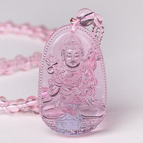 - Yumten Hand Carved Natural Pink Quartz Gemstone Amulet Talisman Buddha Pendant Chain Necklace for Lucky Gift Crystal Men and Women Jewelry (F006-5)