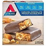 Atkins Snack Bar, Caramel Chocolate Peanut Nougat, 5 Count