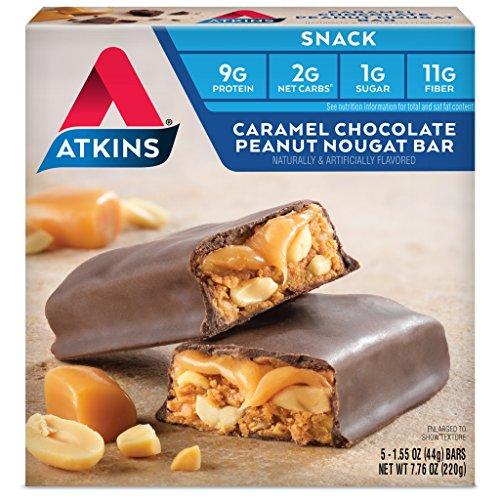 Bar Chocolate Peanut Caramel - Atkins Snack Bar, Caramel Chocolate Peanut Nougat, Keto Friendly, 5 Count