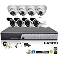 iPower Security SCCMBO0009-1T 8 Channel 1TB HDD Full D1 DVR Security Surveillance System with 8 850TVL Cameras