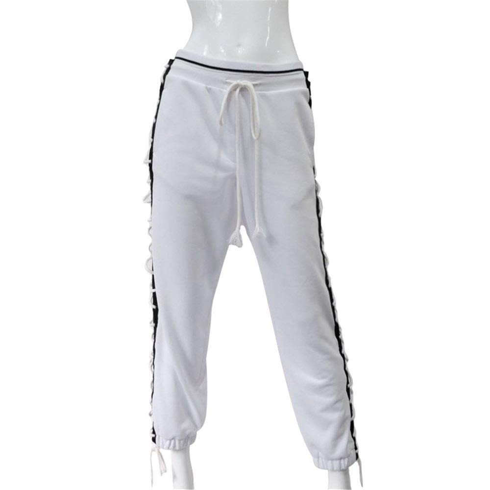Women Loose Fit Jogger Pants Women Drawstring Jogger Cargo Pants Lace-up Workout Fitness Sports Gym Running Athletic Training Pants Casual Lounge Sweatpants Relaxed Fit Trousers White Ladies Casual Tr