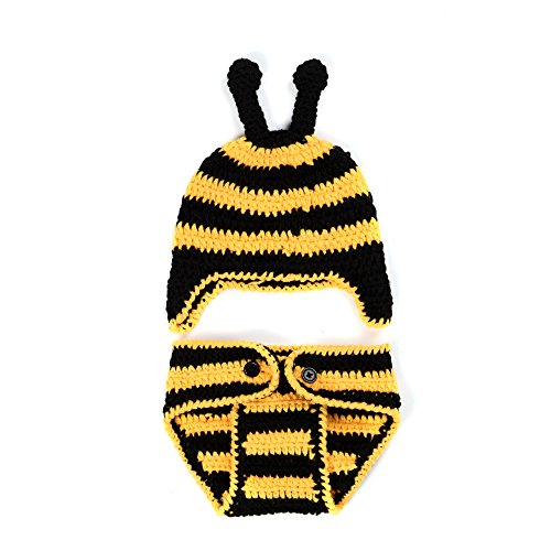 Baby Bumble Bee Outfit (Elee Baby Handmade Crochet Little Bee Photography Prop Outfit (0-12 Months) (#3))