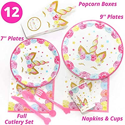 Unicorn Party Supplies - 197 pc Set With Unicorn Themed Party Favors! Pink Unicorn Headband for Girls, Birthday Party Decorations, Unicorn Balloons, Pin the Horn on the Unicorn Game and more| Serve 12!: Toys & Games