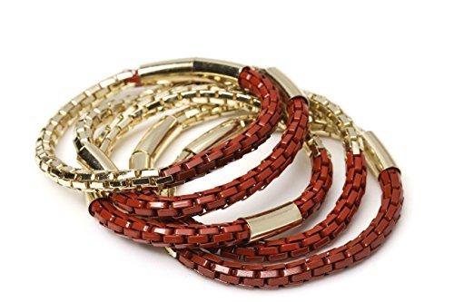 New Fashion Fools Gold Bracelets - Pyrite Jewelry Bracelets 5 Pcs Set (Red)