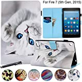 """Flip Case for Kindle Fire 7 2015, Newshine Magnetic Leather Stand Protective Case with Card Slots for Amazon Kindle Fire 7 (Only Fit Fire 7"""" Display 5th Generation 2015 Release) - Blue Eye Cat"""
