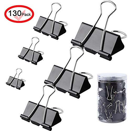 MOKAOU Binder Clips 130pcs Heavy Duty Small, Medium, Large Sizes, Paperwork and Document Clamps