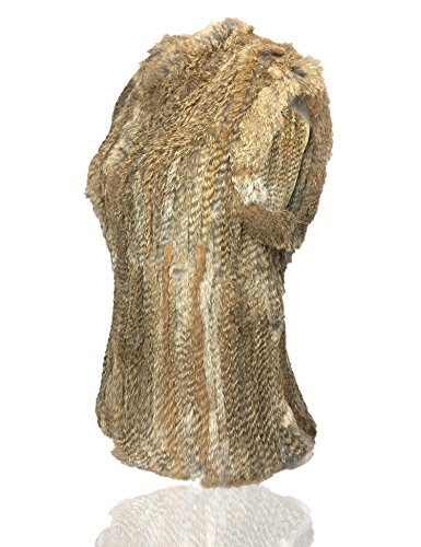 chaleco Khakki caliente Piel natural gruesa Natural conejo mujer Uilor® de punto de gq0APqa