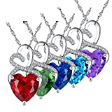 "Mabella Sterling Silver CZ Love Pendant Necklace Double Two Heart for Women 18"" chain"