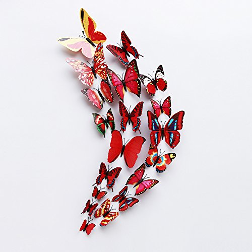 Halloween Decor Blog (FLY SPRAY 24 Pcs 3D Artificial Red Butterfly Removable Mural Wall Stickers Wall Decal For Home Decor Nursery Decoration)