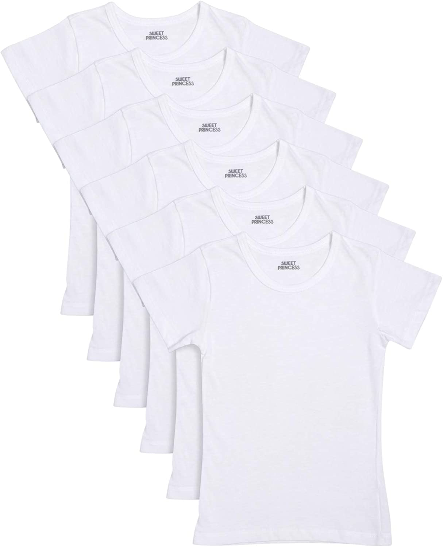 Sweet Princess Girls' Cotton Crew Neck Undershirt (6 Pack): Clothing