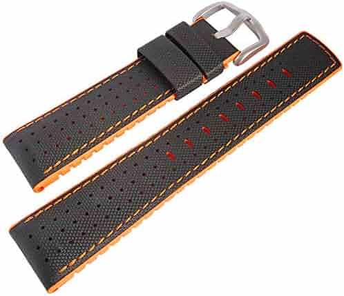 Hirsch Performance Robby 22mm Orange Sailcloth Black Rubber Watch Strap