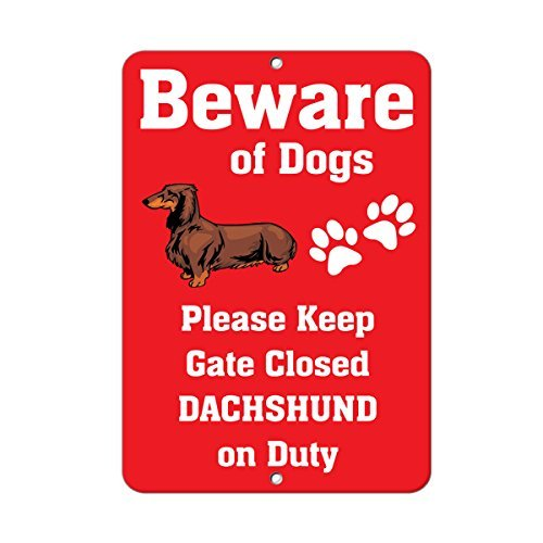 Dachshund Dog Beware of Fun Metal Sign Warning Saftey Sign Pre-drilled Holes for Easy Mounting ()