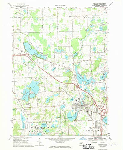 YellowMaps Brighton MI topo map, 1:24000 Scale, 7.5 X 7.5 Minute, Historical, 1968, Updated 1970, 26.8 x 22 in - Polypropylene