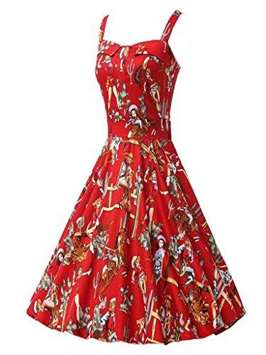 Eyekepper vestido de mujer de noche estilo vendimia 1950 Audrey Hepburn Rockabilly Rojo