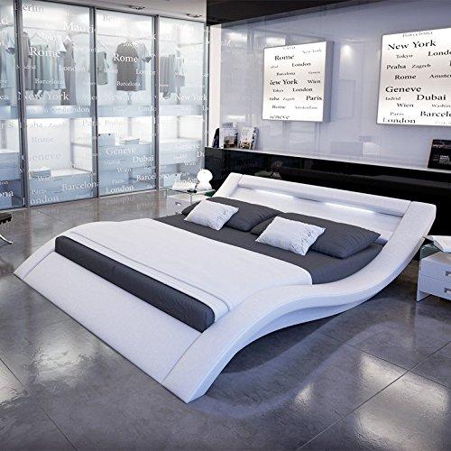 Innocent Polsterbett aus Kunstleder mit LED-Beleuchtung Look Weiß, 200 x 220 cm