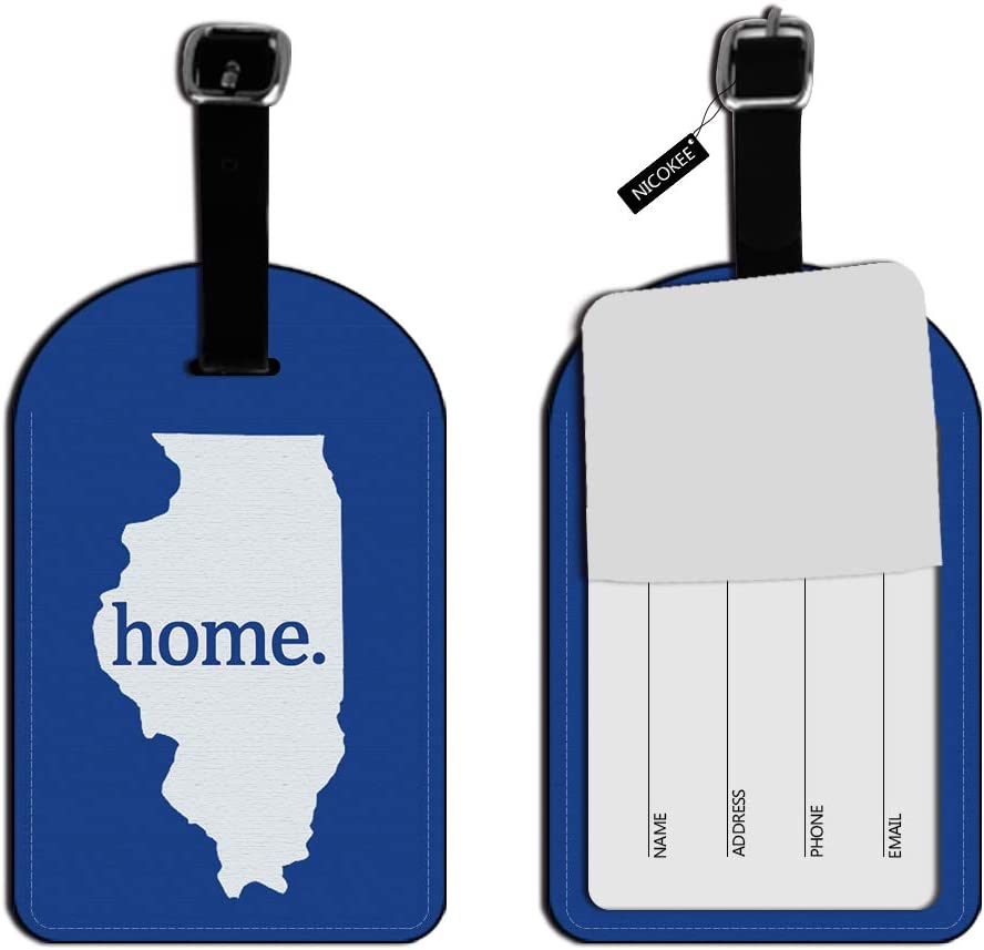 Nicokee Illinois IL Home State Luggage Suitcase ID Tags Textured Navy Blue Leather Travel Bag Labels Luggage ID Tags