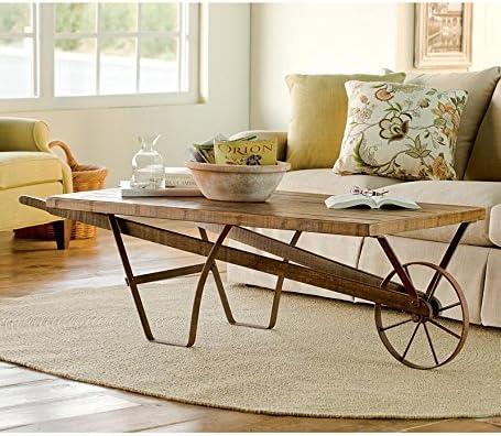 Amazoncom Distressed Wood Wheelbarrow Coffee Table Kitchen Dining - Wheelbarrow coffee table