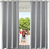 PRAVIVE Grey Blackout Outdoor Curtains - Indoor/Outdoor Extra Long Curtain Panels for Patio Privacy/Gazebo Pergola/Porch with Grommet Top, 52 Inches Wide by 108 Inches Long,(Set of 1)