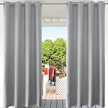 Amazon Com Pravive Grey Blackout Outdoor Curtains Indoor Outdoor