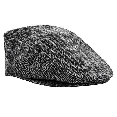 Irish Ivy Cap (Pierre Cardin Big and Tall Men's IVY newsboy Cabbie Cap (Tweed Black, 4XL))