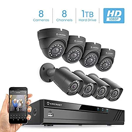 Amcrest Eco-HD 1080P 1920TVL 8CH Video Security System w Four 2.0 Megapixel IP67 Weatherproof Bullet Cameras Four 2.0 Megapixel IP67 Weatherproof Dome Cameras 65ft Night Vision at amazon