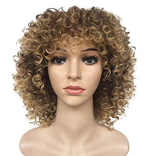 Hair Curly Wavy Full Head Halloween Wigs Heat Resistant synthetic Wig for Women Cosplay Costume Party Hairpiece (12 inches, Gold) ()