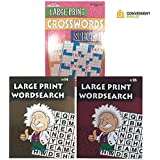 Puzzles for Adults | Adult Puzzles Word Search (2 Pack) & Crossword (1 Pack) Large Print | Puzzle Books Bundle Set of 3