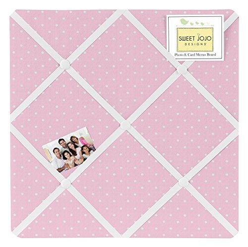 Pink Polka Dot Fabric Memory/Memo Photo Bulletin Board - Memo Photo Bulletin Board