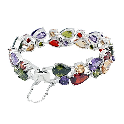 HERMOSA Multi Gemstones Sets 925 Silver Peridot Amethyst Garnet - Multi Topaz Blue Gemstone