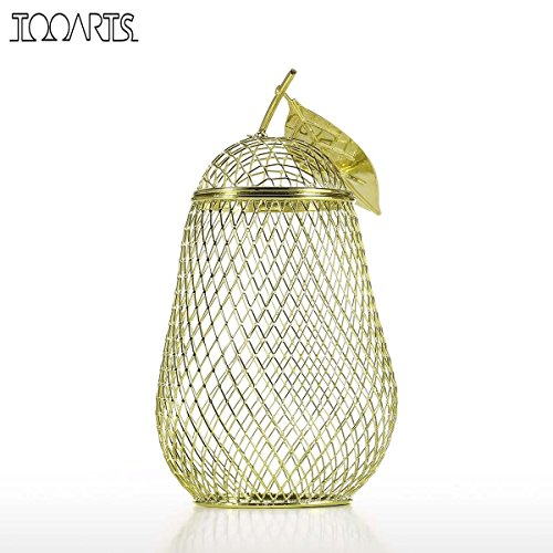 Sculpture Money Box Pear Storage Jar Handmade Metal Cork Container Coin Bank Saving Box Electroplating Technology (Pear Sculpture)