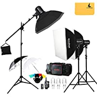 Godox E300 300W Photo Studio Strobe Flash light,FT-16 Trigger,Soft box 50 x 70 cm,33 inches Reflector Umbrella,Photography Stand,Carrying Bag,Speedlite.