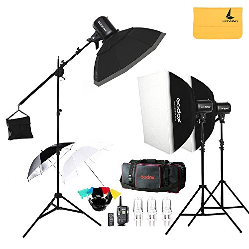 Flash Studio Heads (Godox E300 300W Photo Studio Strobe Flash Light,FT-16 Trigger,Soft Box 50 x 70 cm,33