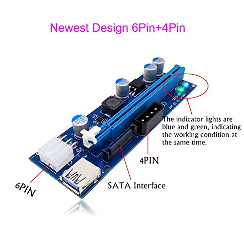 Mining Riser Card For Video Card PCI-E Express 1x to 16x USB 3.0 6Pin+4Pin Power Supply Input With LED Light for Miner Machine ()