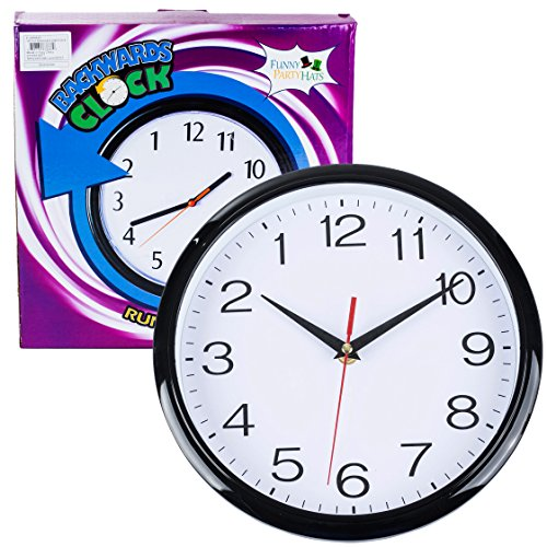 Funny Party Hats 10 Inch Backward Wall Clock - Runs Counterclockwise & Reverse - Funny Birthday Gifts - Office Pranks and Gags -
