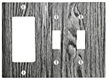 Dark Grey Wood-grain Design 3 Gang, 2 Toggle, 1 Dimmer, Decorator Electrical Switch Wall Plate (6.56 x 4.69in)