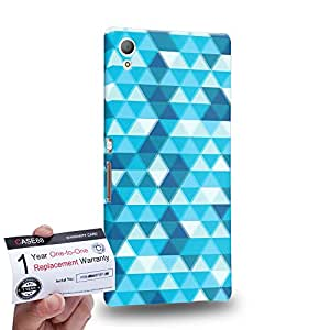 Case88 [Sony Xperia Z3+ / Z4] 3D impresa Carcasa/Funda dura para & Tarjeta de garantía - Art Fashion Aqua Triangle Geometric Combination