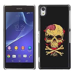 GOODTHINGS Funda Imagen Diseño Carcasa Tapa Trasera Negro Cover Skin Case para Sony Xperia Z2 D6502 D6503 D6543 L50t L50u - cerebros cráneo amarillo de la bandera pirata negro