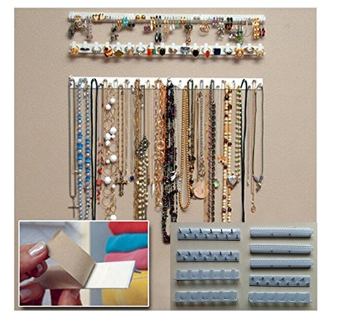 9 in 1 Adhesive Paste Wall Hanging Storage Hooks Jewelry Display Organizer Necklace Hanger by Perfect shopping