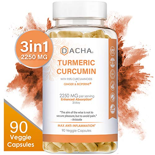 DACHA Tumeric Curcumin Supplement - 2250mg Arthritis Joint Support Supplements Turmeric with Black Pepper Bioperine Ginger 95% Curcuminoids Anti Inflammatory Capsules Antioxidant Back Pain Relief