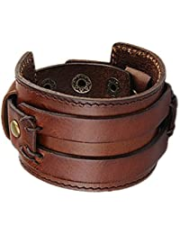 Wide Braided Genuine Leather Mens Bracelet Bangle Cuff