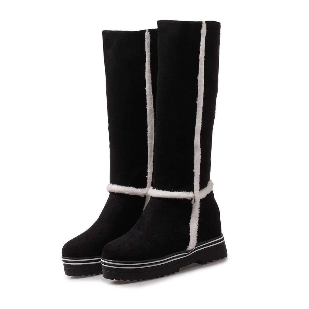 FCXBQ Warme Hohe Stiefel, Keil-Elastische Kniestiefel Runder Kopf Wasserdichte Plattform Ritter Stiefel Matte Slip Damen Bequeme Schneeschuhe  | Günstige Preise  | Nutzen Sie Materialien voll aus