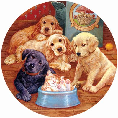 Little Visitor Round Jigsaw Puzzle