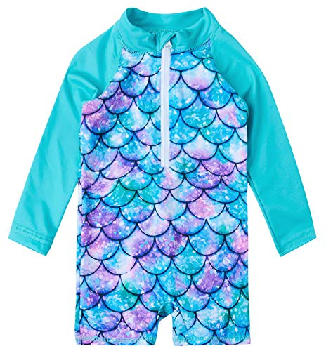 Uideazone Lovely Kid Baby Girls Blue Fish Scale Printed Swimsuit Long Sleeve One Piece Swimwear Summer Beach Bathing Suit Beachwear 24-36 Months ()
