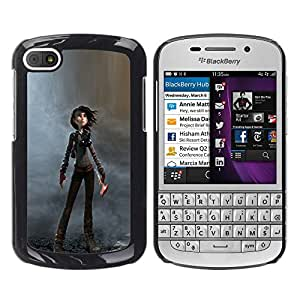 Shell-Star Arte & diseño plástico duro Fundas Cover Cubre Hard Case Cover para BlackBerry Q10 ( Woman Cartoon Character Dystrophic )