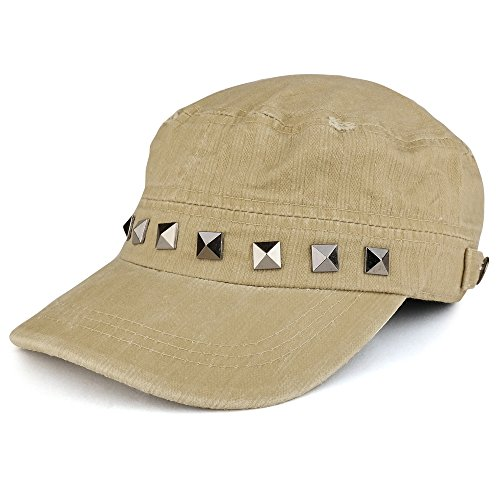 Distressed Flat Top Metallic Studded Frayed Jeep Style Army Cap - TAN