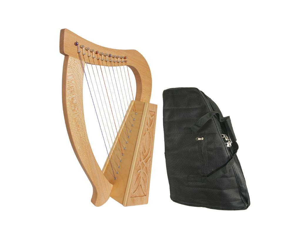 Baby Celtic Harp Package Includes: 12-string Baby Celtic Harp W/Knotwork Design - Lacewood + New Baby Harp Nylon Carry Case Bag