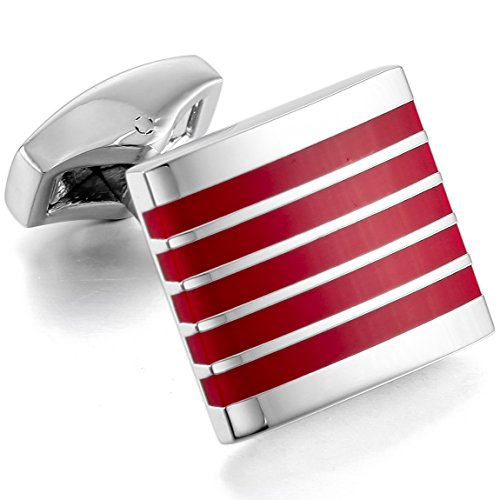 Red Plated Cufflinks - INBLUE Men's 2 PCS Rhodium Plated Resin Cufflinks Silver Tone Red Striped Square Shirt Wedding Business 1 Pair Set