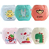 AUBIG 6 Pcs Training Diaper for Baby Boys Girls Adorable Cotton Underwear Cartoon Leakproof Potty Training Pants Triangle Pants Large